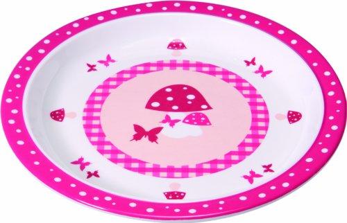 Lässig Dish Plate Melamin Teller aus 100% Melamin BPA-frei und rutschfest, Mushroom, magenta