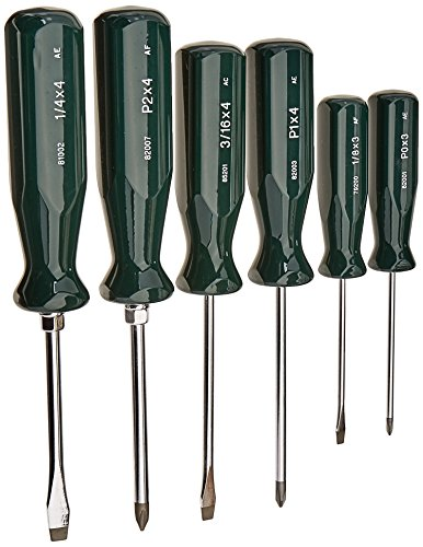 "SK Hand Tool 86320 SureGrip 6-Piece Combination Screwdriver Set, P0 x 3"", P1 x 4"", P2 x 4"" Phillips Screwdrivers, 1/8""x3"", 3/16""x4"" Keystone Slotted Screwdrivers, Made in U.S.A.,Green"