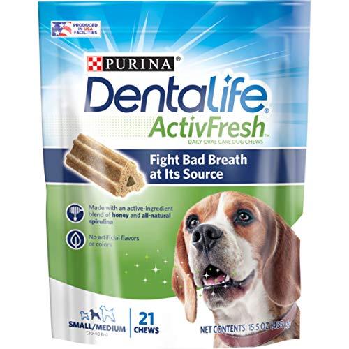 Purina DentaLife Small/Medium Breed Dog Dental Chews, ActivFresh Daily Oral Care Small/Medium Chews - 21 Ct. Pouch