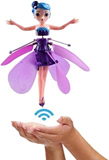 grfamily Flying Fairy Doll with Lights Infrared Induction Control RC Helicopter Kids Toys Ballet Girl Gift consistent