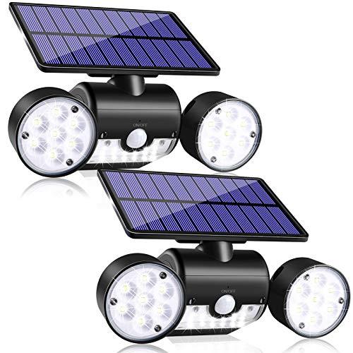 JosMega Solar Motion Sensor Lights Outdoor, IP65 Waterproof 360° Rotatable, Solar Powered Security Wall Lights with 30 LED Solar Flood Lights Outdoor Dual Head Spotlights, Outside spot Light 2 Pack