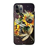 Dragonfly Sunflower Women Girls iPhone Case for Apple iPhone 6/6S - Glass Case with Unique Design Slim Fit Anti Scratch Shock Proof Girls Women Gifts Cover Compatible for Apple iPhone, 6/6S