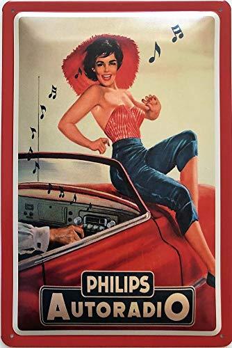 Deko7 blikken bord 30 x 20 cm vintage reclame Philips autoradio