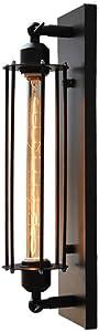 LifeX Industrial Negro Rectángulo Lámpara de Pared Antiguo Antiguo Aplique Dormitorio Al Lado Iluminación de Pared Restaurante Hierro Forjado Apliques de Pared Loft Edison E27 Base de Pared Lámpara