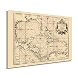 HISTORIX Vintage 1755 Caribbean Map Poster - 24x36 Inch Vintage Map of The Caribbean Wall Art - Historic Caribbean Poster - Old Caribbean Wall Map - Gulf of Mexico and Islands of America Maritime Map
