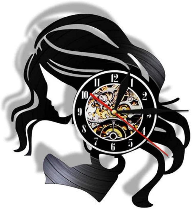JKLMZYT Beauty Lady Hair Salon Business Sign Retro Silent Quartz Reloj de Pared Disco de Vinilo Cuidado del Cabello Hermosa Mujer Barber Watch Logo