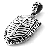 925 Sterling Silver Crusader Cross Shield Pendant