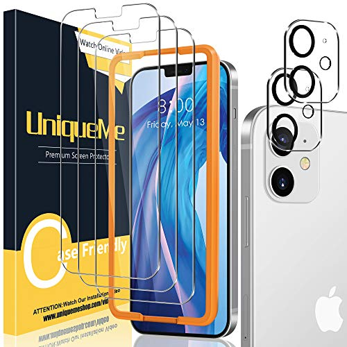 UniqueMe [3+2 Stück] Schutzfolie Kompatibel mit iPhone 12 6,1 Zoll Panzerglas mit Installationswerkzeug + iPhone 12 6,1 Zoll Kamera Panzerglas Displayschutzfolie.