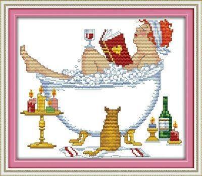 Joy Sunday Cross Stitch kits Bathing Counted Cheap sale 2 beauty cheap 1 14CT