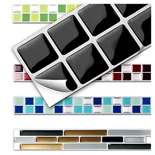 Wandora 7 Stück 25,3 x 3,7 cm Fliesenaufkleber schwarz Design 3 I 3D Mosaik Küche Bad Fliesendekor Aufkleber Wandaufkleber Wandsticker W1431