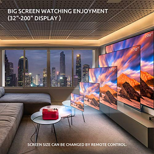 """Crenova Native 1080p Projector, 6000Lux Outdoor Movie Projector, Full HD Video Projector with 200"""" Image Display, LED Home Theater Projector Supports 4k Compatible with TV Stick, Roku, Phone, Laptop"""