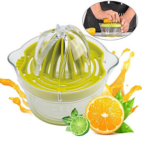 Zitruspresse Manuelle Zitronenpresse Handpresse Saftpressen Limetten Orangenpresse Lemon Squeezer Juicer Profi Fruchtpresse mit 400ml Behälter & Filtertasche, Spülmaschinenfest, Plastik, Ø12,5cm