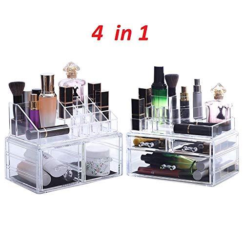 Oule GmbH Kosmetik Aufbewahrung Organizer 4 in 1 Make-Up Box für Schminke Utensilien XXXL Paket für Badzimmer Schminktisch