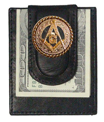 Custom Masonic Square and Compasses Paul and Taylor Money Clip Wallet Black