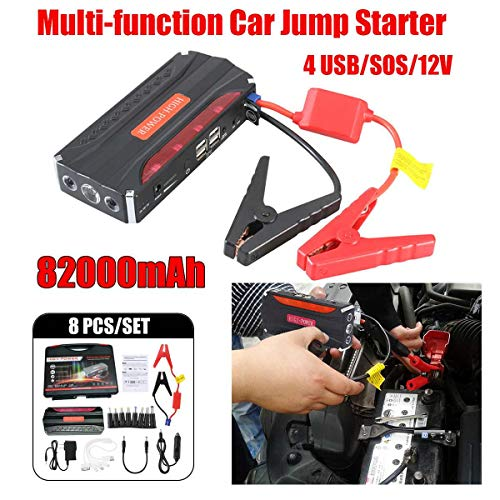 Sale!! Carvicto - Multifunction Car Jump Starter 82000mAh 12V 4 USB Protable Power Bank Emergency Ba...