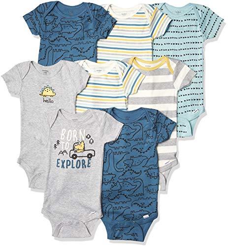 Gerber Body de manga corta para bebé, 8 unidades, color azul dinosaurio, 12 meses