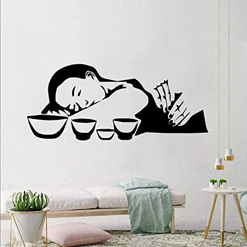 Thai Massage Wandtattoo Mädchen Beauty Salon Vinyl Wandaufkleber Spa Innenräume Dekor Design Mode Wohnzimmer Entspannen Sie Kunst 136x57cm