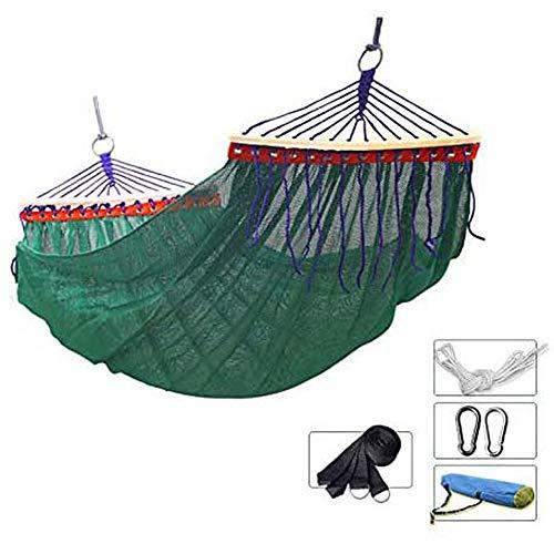 LIMQ Hangmat De draagbaar, afmetingen 200 × 150 cm ademend anti-rollover ijszijde draagvermogen 200 kg voor camping reizen binnen wandelen trekking tuin terras strand, groen