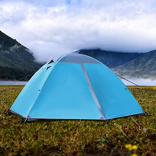 "ALPHA CAMP 2Person Backpacking Camping Tent Lightweight Dome Tent  92""x56""Blue"