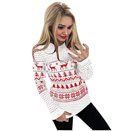 SALUCIA Damen Strickpullover Weihnachten Sweatshirt Rollkragen Pullover Langarm Norweger Weihnachtspulli Shirt Oberteile Lässige Herbst Winter Top