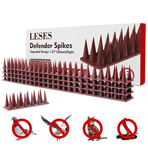 LESES Deterrent Spikes Birds Repellent Spikes, Pigeons Spikes Outdoor Anti-Climb Plastic Security Fence Spikes of 12 Pack [16.5FT]