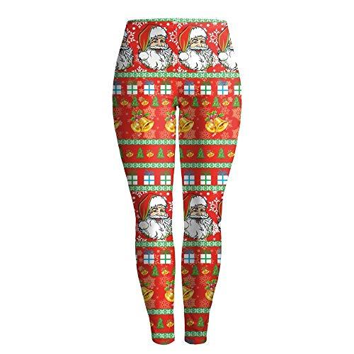 SGJFZD Dames En Meisjes Mode 3D Digitale Drukken Kerstman Sexy Leggings Kerstmis Feestelijke Kostuum Casual Riem Gesp Patroon Yoga Pant Panty Sport Fitness