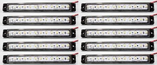 Long 10 x 12 V 12 LED avant côté Blanc Marker lamps Lights Camion benne caravane 175 mm