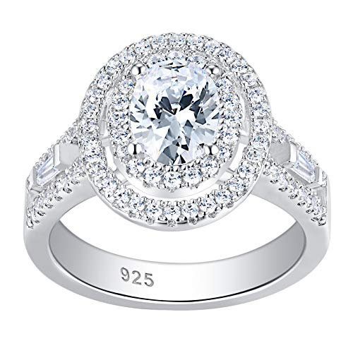 Newshe 3Ct Wedding Engagement Rings for Women Sterling Silver Anniversary Gemstone White Sapphire Cz Size 7