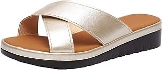 Howely Women's Platform Criss Cross Sandals Slide-on Open Toe Faux Leather Shoes