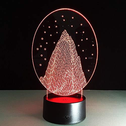 Jiushixw 3D acryl nachtlampje met afstandsbediening van kleur veranderende tafellamp abstracte kunstenaar bergen sneeuwval kind kind leven slaapkamer tafel schrijftafel met multi mango houten tafellamp
