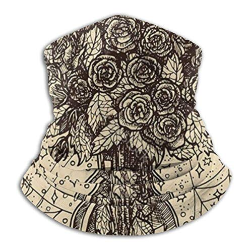 Lzz-Shop Bouquet vaas met rozen halswarmer - hoofdband sjaal hoofdwikkeling, hals gamasche pijp vissen, gezicht sport sjaal