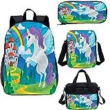 Juego de mochila para adolescentes de 17 pulgadas, unicornio con arco iris, juego de bolsas escolares para trabajo, escuela, viajes, picnic