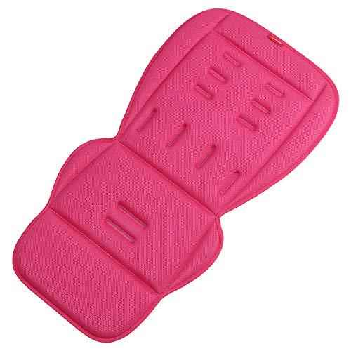 Fundas de asiento para cochecitos de bebé, transpirables, de verano, fundas de asiento universales para cochecitos de bebé, alfombrillas acolchadas para 4 estaciones (rojo rosa)
