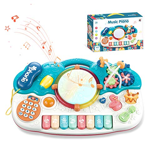 Bpocz Baby Piano Toys Musical Toys Kids Electronic Piano Keyboard Toys Music Drum Toys, Learning Toys Eduactional Gift for Baby Infant Toddler Girls Boys - Blue