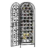 HomCom 45-Bottle Modern Wine Organizer Decorative Portable Wrought Iron Wine Rack Jail