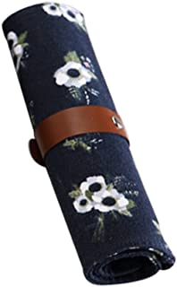 jingyuu bolsa de bolígrafo–Estuche (lienzo herramientas de cosmético accesorios de oficina papelería Fournitures scolaires negro