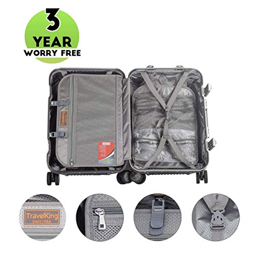 Multi-size All Aluminum Hard Shell Luggage Case Carry On Spinner Suitcase By TravelKing 20'-28' (20', Gold)
