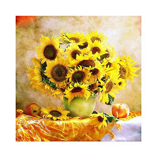SWECOMZE 5d Diamant Painting Kit DIY Blume Sonnenblume Muster Handgemachtes Klebebild mit Digitale Sets Kreuzstich Wanddekoration (40 x 40 cm, 001)
