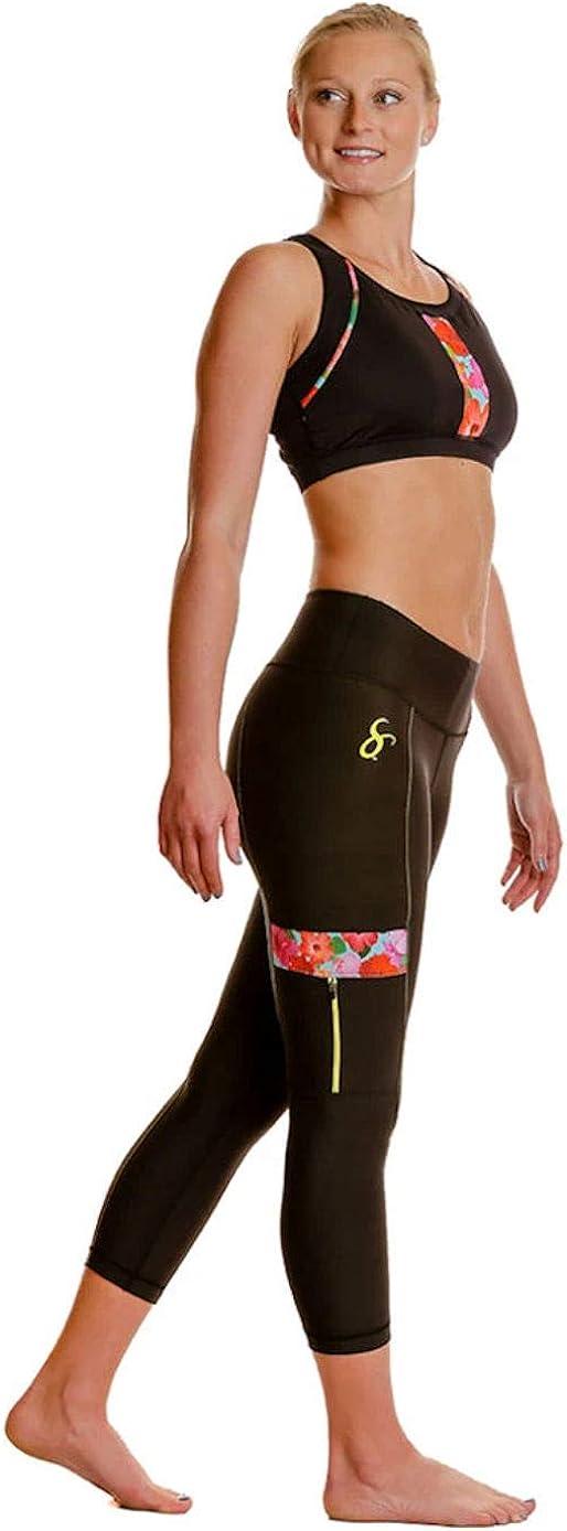 SportPort Active Women's Hibiscus Design Leggings w Side-Zip Phone Pockets & Tummy-Control