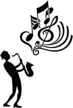Home Find Saxophone with Music Note Wall Decals Stickers Man in Black is Playing Saxophone Jazz Music Musical Instrument Removable Art Murals for Music Room Decor 15.7