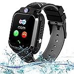 Smartwatch Kinder wasserdicht Smart Watch Uhr für Kinder Jungen Mädchen Geburtstagsgeschenk (Schwarz)