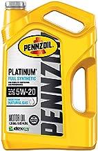 Pennzoil Platinum Full Synthetic Motor Oil (SN) 5W-20, 5 Quart - Pack of 1