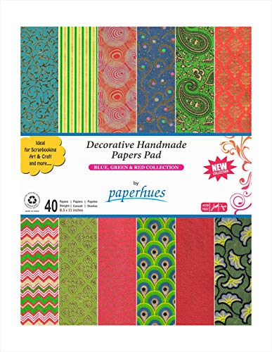 Paperhues Blue-Green-Red Celebration Collection Handmade Scrapbook Papers 8.5x11'Pad, 40 Sheets