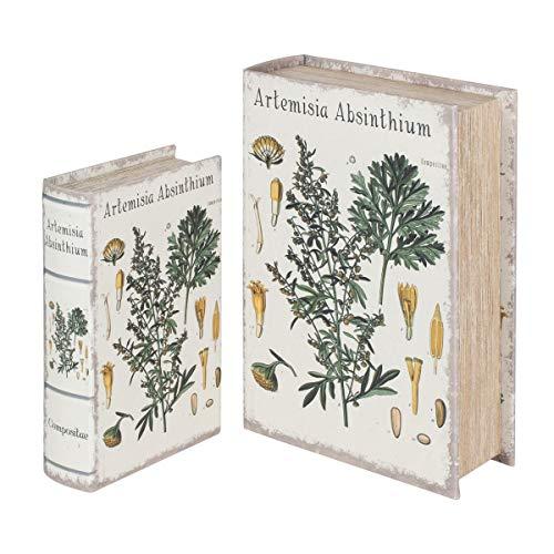 SIGRIS Signes Grimalt by Libros Decorativos | Caja Libro de Madera - Pack de 2, Diseño Plantas