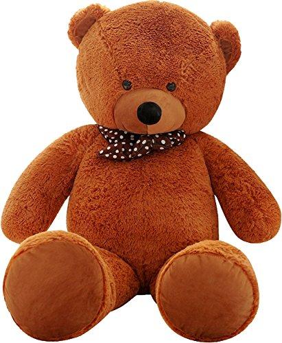 SHAIK® XL Kuschel-Teddybär 100-180 cm (diag.) groß in Braun und Weiss - TÜV SÜD geprüft - Plüschbär Teddy Kuscheltier Stofftier (100 cm, Braun)