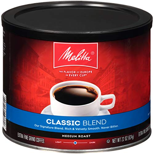 Melitta Classic Blend Coffee, Medium Roast, Extra Fine Grind, 22 Ounce Can