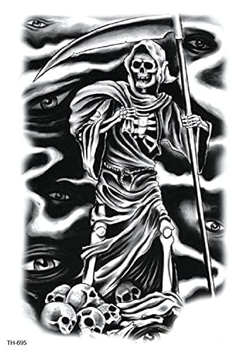 Muerte Negra Figura Flor Brazo 15X21cm-3Pcs Lote De Tatuajes Temporales De Moda Tatuajes A Prueba De Agua Pegatinas De Papel Y Arte Corporal Boceto Negro Realista