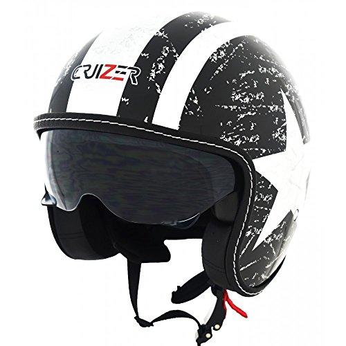CRUIZER - Casco para moto y scooter Demi Jet de color negro brillante homologado con visera solar retráctil (M)