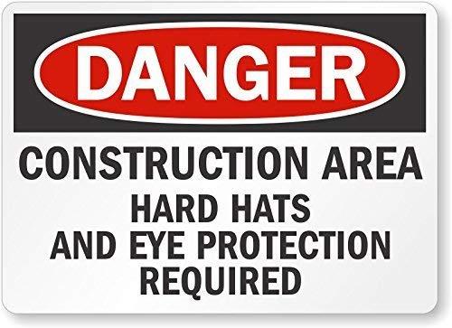 cwb2jcwb2jcwb2j Hoge intensiteit Grade Reflecterende OSHA Veiligheidsbord, Legend Gevaar: Harde Hoeden en Oogbescherming Vereist, 12 Hoog X 18 Breed, Zwart/Rood op Wit