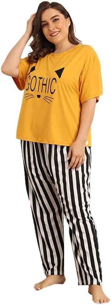 Gran Tamaño Conjunto De Pijamas De Mujer Tamaño De Manga Corta con Cuello En O Letras Lindas Tops Y Rayas Pantalones Ropa De Dormir para Mujer ...